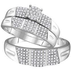 0.50 CTW His & Hers Diamond Cluster Matching Bridal Ring 10KT White Gold - REF-49K5W