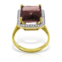 Genuine 7.7 ctw Garnet & Diamond Ring Jewelry 14KT Yellow Gold - REF-84V3W