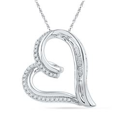 0.16 CTW Diamond Heart Outline Pendant 10KT White Gold - REF-22N4F