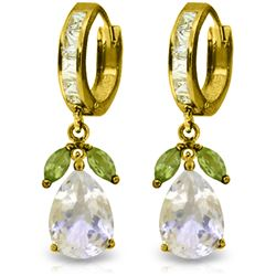 Genuine 14.3 ctw White Topaz & Peridot Earrings Jewelry 14KT Yellow Gold - REF-82F9Z