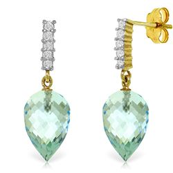 Genuine 22.65 ctw Blue Topaz & Diamond Earrings Jewelry 14KT Yellow Gold - REF-63N5R