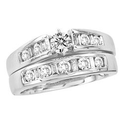 1.01 CTW Diamond Bridal Wedding Engagement Ring 14KT White Gold - REF-179W9K