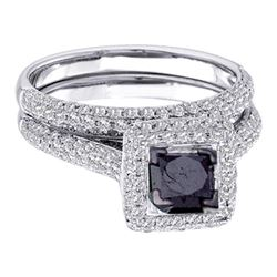 1.25 CTW Black Princess Diamond Solitaire Pave Bridal Ring 14k White Gold - REF-85F4N