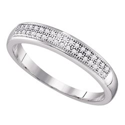 0.10 CTW Pave-set Diamond Bridal Wedding Anniversary Ring 10KT White Gold - REF-13K4W