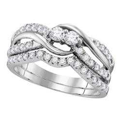 0.74 CTW Diamond 2-stone Bridal Wedding Engagement Ring 14KT White Gold - REF-75W2K