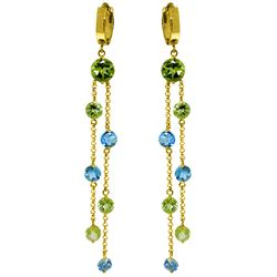 Genuine 8.99 ctw Blue Topaz & Peridot Earrings Jewelry 14KT Yellow Gold - REF-87P2H
