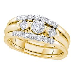 0.74 CTW Diamond 3-Stone Bridal Engagement Ring 14KT Yellow Gold - REF-104X9Y