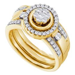 0.51 CTW Diamond Bridal Wedding Engagement Ring 14KT Yellow Gold - REF-101K2W