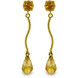 Genuine 4.3 ctw Citrine Earrings Jewelry 14KT Yellow Gold - REF-23T5A