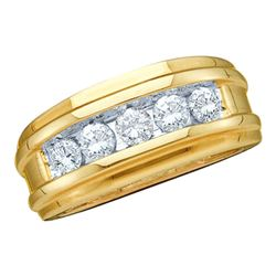 0.25 CTW Mens Channel-set Diamond Wedding Anniversary Ring 14KT Yellow Gold - REF-44K9W