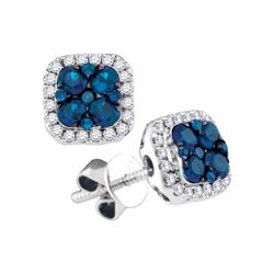 0.75 CTW Blue Sapphire Square Cluster Diamond Earrings 14KT White Gold - REF-71F9N