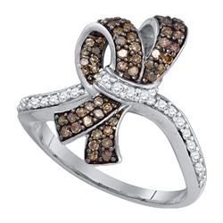 0.50 CTW Brown Color Diamond Knot Bow Ring 10KT White Gold - REF-34N4F
