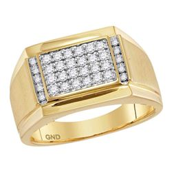 0.40 CTW Mens Diamond Square Cluster Ring 14KT Yellow Gold - REF-75N2F