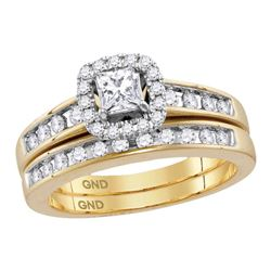 0.74 CTW Diamond Princess EGL Bridal Engagement Ring 14KT Yellow Gold - REF-119F9N