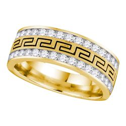 0.75 CTW Mens Diamond Grecco Double Row Wedding Ring 14KT Yellow Gold - REF-89N9F