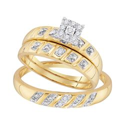 0.13 CTW His & Hers Diamond Cluster Matching Bridal Ring 10KT Yellow Gold - REF-26Y3X