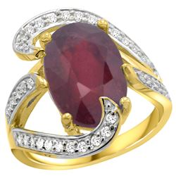 Natural 6.74 ctw ruby & Diamond Engagement Ring 14K Yellow Gold - REF-142A8V