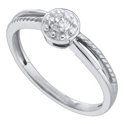 0.05 CTW Diamond Solitaire Bridal Ring 10KT White Gold - REF-8N9F