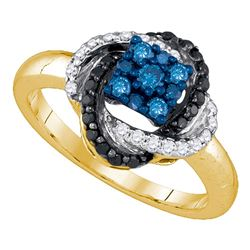 0.50 CTW Blue Color Diamond Cluster Ring 10KT Yellow Gold - REF-37H5M