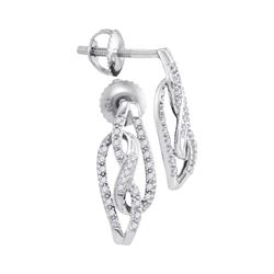 0.15 CTW Diamond Infinity Screwback Stud Earrings 10KT White Gold - REF-19W4K