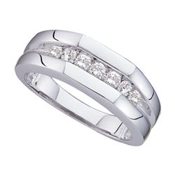 0.50 CTW Mens Channel-set Diamond Flat Surface Wedding Ring 14KT White Gold - REF-75F2N