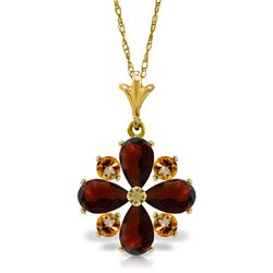 Genuine 2.43 ctw Garnet & Citrine Necklace Jewelry 14KT Yellow Gold - REF-29Y7F