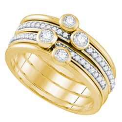 0.50 CTW Diamond Stackable Ring 10KT Yellow Gold - REF-59X9Y