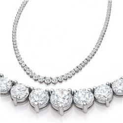 Natural 7.21CTW VS/I Diamond Tennis Necklace 14K White Gold - REF-555H3M
