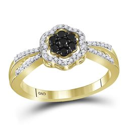 0.30 CTW Black Color Diamond Flower Cluster Ring 10KT Yellow Gold - REF-22Y4X