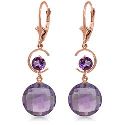 Genuine 11.60 ctw Amethyst Earrings Jewelry 14KT Rose Gold - REF-47W5Y