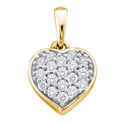 0.10 CTW Diamond Small Heart Cluster Pendant 14KT Yellow Gold - REF-10Y5X