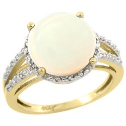Natural 5.34 ctw Opal & Diamond Engagement Ring 14K Yellow Gold - REF-47Y6X