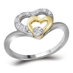 0.08 CTW Diamond Double Heart Ring 10KT Two-tone Gold - REF-14W9K