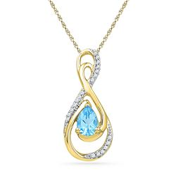 0.80 CTW Oval Created Blue Topaz Solitaire Diamond Teardrop Pendant 10KT Yellow Gold - REF-18M2H