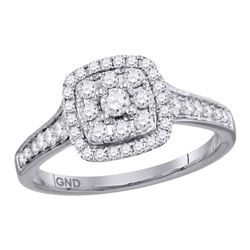 0.63 CTW Diamond Halo Cluster Bridal Engagement Ring 14KT White Gold - REF-82F4N