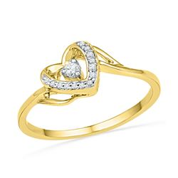 0.08 CTW Diamond Heart Love Promise Bridal Ring 10KT Yellow Gold - REF-11K2W