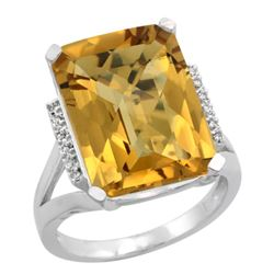 Natural 12.13 ctw Whisky-quartz & Diamond Engagement Ring 14K White Gold - REF-67G2M