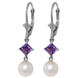 Genuine 5 ctw Pearl & Amethyst Earrings Jewelry 14KT White Gold - REF-29M7T