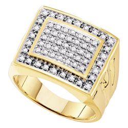 0.50 CTW Mens Diamond Square Cluster Ring 10KT Yellow Gold - REF-44H9M