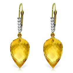 Genuine 19.15 ctw Citrine & Diamond Earrings Jewelry 14KT Yellow Gold - REF-49N2R