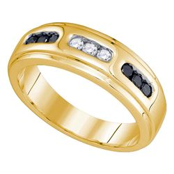 0.35 CTW Black Color Diamond Channel-set Mens Anniversary Ring 10KT Yellow Gold - REF-34N4F