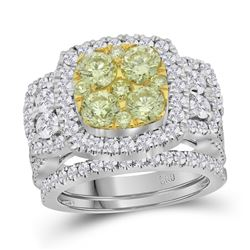 3.04 CTW Yellow Diamond Bridal Engagement Ring 14KT White Gold - REF-359M9H