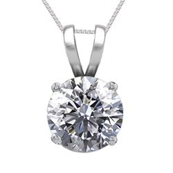 14K White Gold Jewelry 0.77 ct Natural Diamond Solitaire Necklace - REF#195X6F-WJ13287