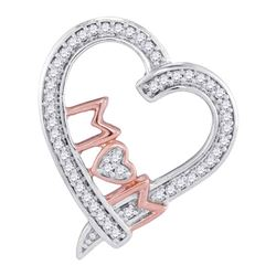 0.12 CTW Diamond Mom Mother Heart Pendant 10KT Two-tone Gold - REF-16K4W