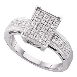 0.20 CTW Diamond Rectangle Cluster Bridal Engagement Ring 10KT White Gold - REF-26F9N
