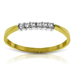 Genuine 0.10 ctw Diamond Anniversary Ring Jewelry 14KT Yellow Gold - REF-30A2K