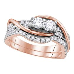 0.99 CTW Diamond 2-stone Bridal Wedding Engagement Ring 14KT Rose Gold - REF-97F4N