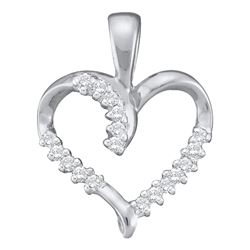 0.10 CTW Diamond Simple Heart Outline Pendant 10KT White Gold - REF-8K9W
