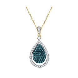 0.60 CTW Blue Color Diamond Teardrop Pendant 10KT Yellow Gold - REF-41H9M