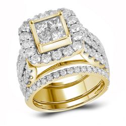 4 CTW Princess Diamond 3-Piece Bridal Engagement Ring 14KT Yellow Gold - REF-434Y9X